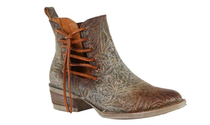 corral turquoise brown embossed floral lace round toe booties