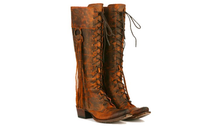junk gypsy lane tall lace up brown boots fringe tassel