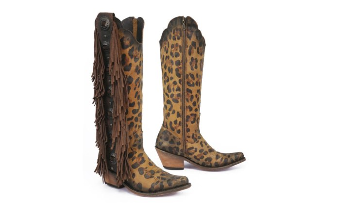 tall leopard fringe western boots liberty black conchos