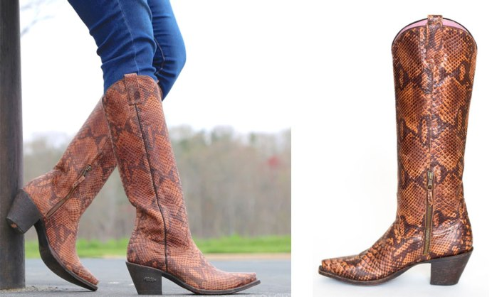 miss macie snakeskin tall western cowboy cowgirl boots brown