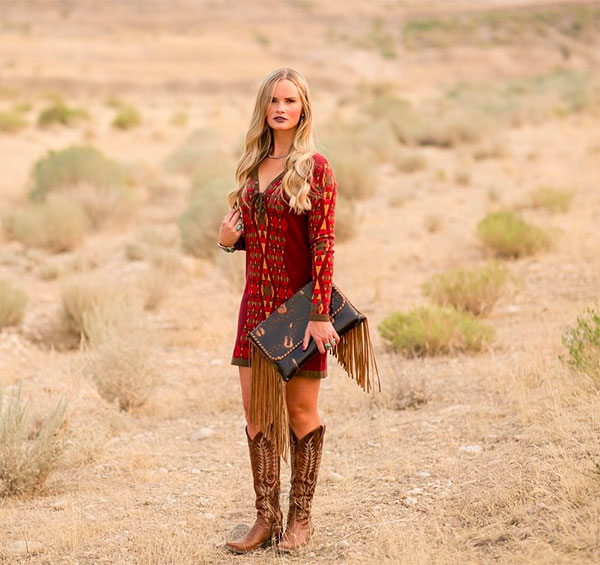 aces arrow red lace up boho dress nfr desert bloom babe