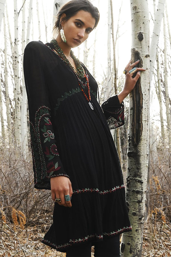 double d ranch boho black dress nfr desert bloom babe