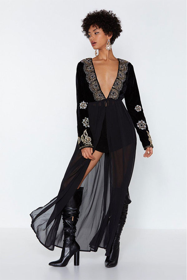 nasty gal black beaded dress nfr desert bloom babe