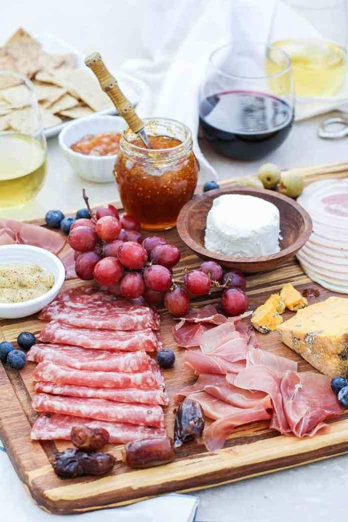 charcuterie board meat cheese jam wine valentines day date ideas