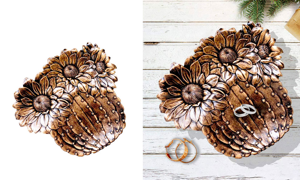 Jewelry Trinket Dish Tray, Bronze Acrylic Resin Cactus Sunflower Jewelry Storage Dish Snack Cake Plates Ring Earrings Tray Decoration Crafts Gifts Home Decor Prickly Pear