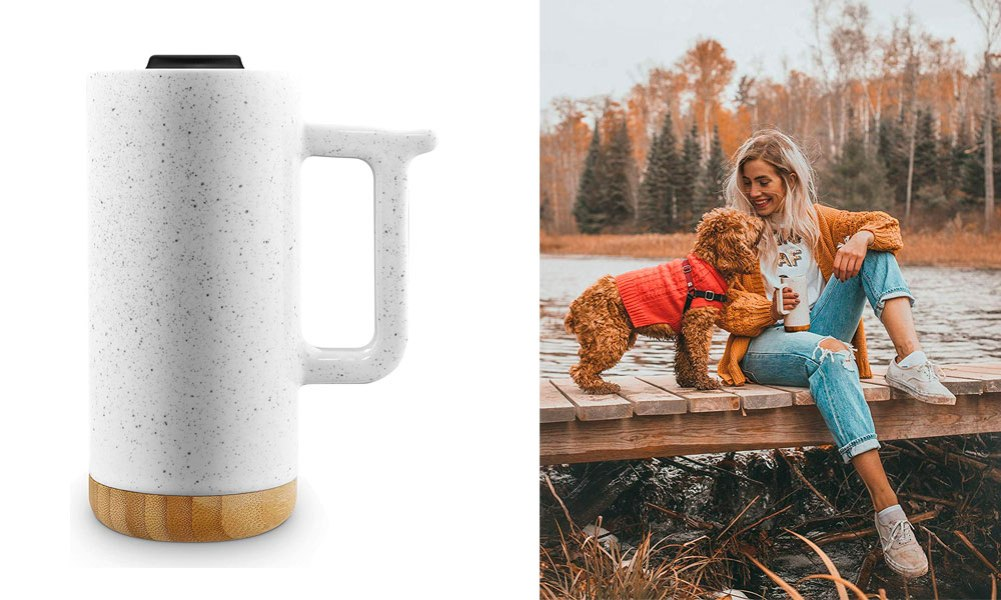 Ello Aspen 16oz Ceramic Travel Mug Dusty White Speckle