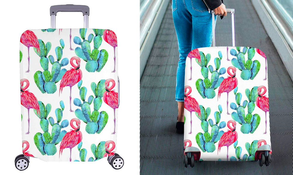 InterestPrint Flamingos Cactus Flower Luggage Cover Suitcase Baggage Case