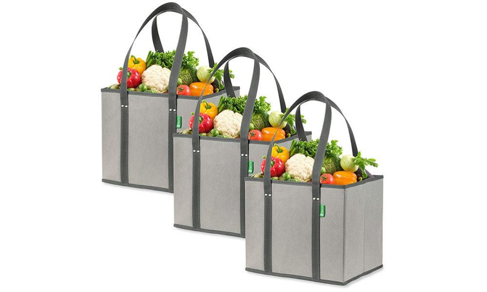 resuable grocery shopping bags 3 pack gray amazon