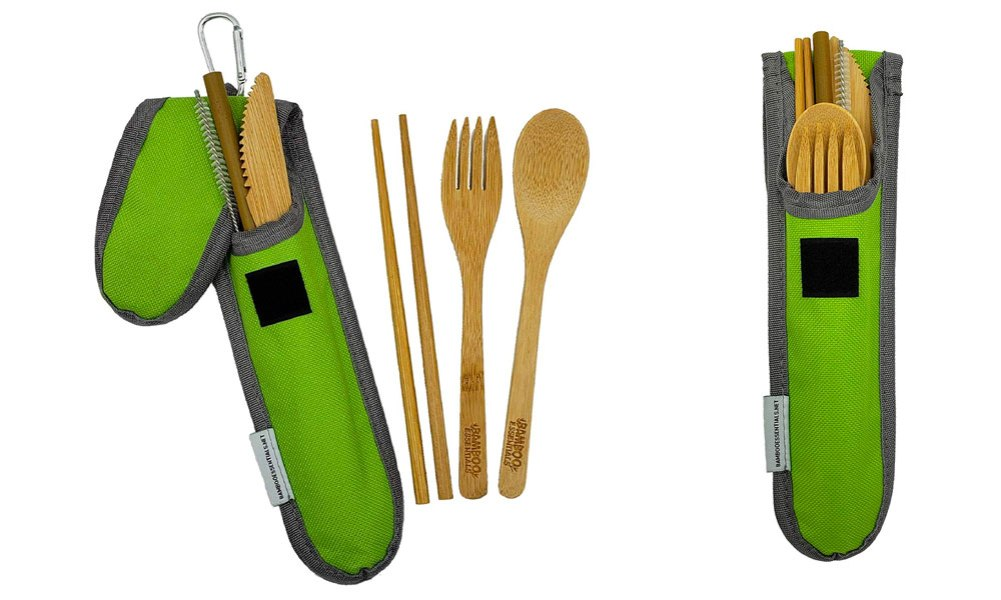 Bamboo Travel Utensil Set Summer Green Bamboo Fork Knife Spoon Chopsticks Straw Straw cleaning brush Travel Pouch Carabiner amazon
